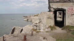 Old demolished Northern forts in Liepaja, Latvia on the Baltic sea coast Stock Footage