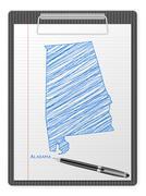 clipboard Alabama map - stock illustration