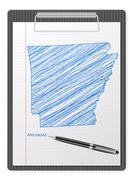 Clipboard Arkansas map Stock Illustration