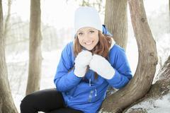 Stock Photo of A woman portrait outside in winter season
