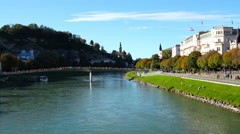 River Salzach flowing through Salzburg Stock Footage