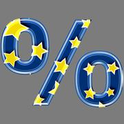 3d percent sign with star pattern - stock photo