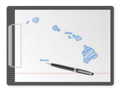 clipboard Hawaii map - stock illustration