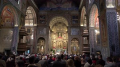 4k New Years Eve prayer Jesuit college church Funchal inside Stock Footage
