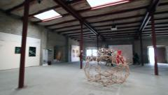 Contemporary art exhibition 360 degrees pan Stock Footage