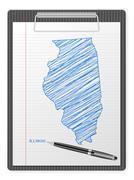clipboard Illinois map - stock illustration