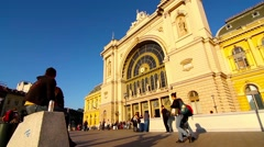 The famous Keleti palyaudvar Trainstation in Budapest Stock Footage