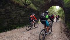 Bikers on a path in the nature Stock Footage