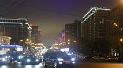 Night Moscow - Kalinin Prospekt winter with cars - stock footage