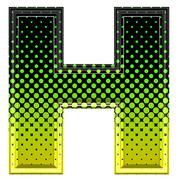 Halftone 3d upper-case letter h - stock photo