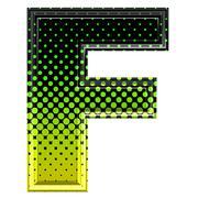 Halftone 3d upper-case letter f - stock photo