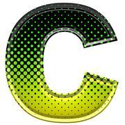Halftone 3d upper-case letter c - stock photo