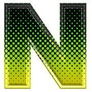 Halftone 3d upper-case letter n Stock Photos