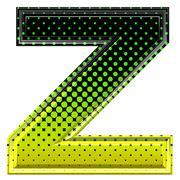 Halftone 3d upper-case letter z - stock photo