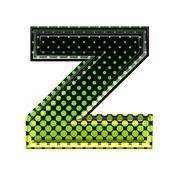 Halftone 3d lower-case letter z - stock photo