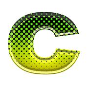 Halftone 3d lower-case letter c - stock photo