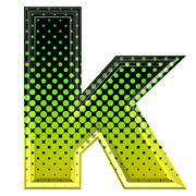 Halftone 3d lower-case letter k Stock Photos
