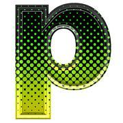Halftone 3d lower-case letter p - stock photo