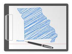 clipboard Missouri map - stock illustration