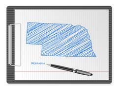 clipboard Nebraska map - stock illustration