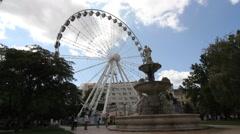 Ferris wheel on the Deak Ter in Budapest Stock Footage