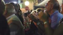 Stock Video Footage of Crowd applause at a local feast