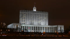 Night Moscow - Government House  in the winter - stock footage