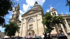 People pass by at the Basilica St. Stephens in Budapest Stock Footage
