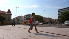 Scene on a square in Gyor, Hungary Stock Footage