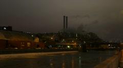 Moscow winter evening near Yakimanka (smokestack pipe) Stock Footage