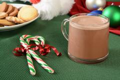 Candy canes and hot chocolate - stock photo