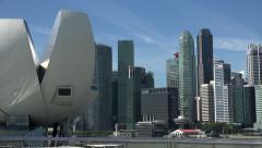 Singapore skyline and Art Science Museum, Marina Bay Stock Footage