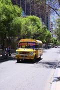 Old Dodge Bus in La Paz, Bolivia - stock photo