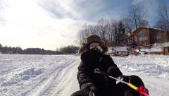 Winter Tow Rope Sledding Stock Footage