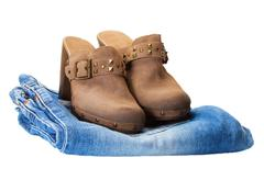 Boots in jeans Stock Photos