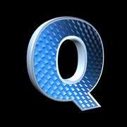 abstract 3d letter with blue pattern texture - Q - stock photo