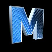 abstract 3d letter with blue pattern texture - M - stock photo