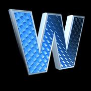 Abstract 3d letter with blue pattern texture - W Stock Photos