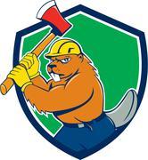Beaver Lumberjack Wielding Ax Shield Cartoon Stock Illustration