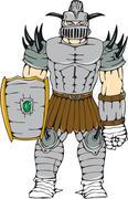 Stock Illustration of Horned Knight Full Armor Shield Cartoon