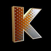 Stock Photo of 3d abstract letter with modern halftone pattern - K