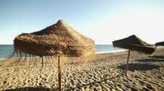 The Malagueta Beaches in Malaga Stock Footage