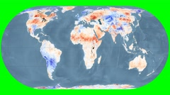 NEO - Land Surface Temperature Anomally. Bathy. Eckert IV. Graticule. Rotating Stock Footage