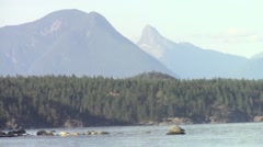 Coastal Mountains seen Cortes Island, British Columbia, Canada Stock Footage