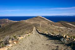 Path on Isla del Sol in Lake Titicaca, Bolivia Stock Photos