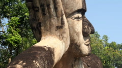 Close Up of Reclining Buddha at Buddha Park in Vientiane, Laos - stock footage