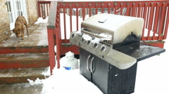 4K freezing rain and sleet falling on gas grill with dog in background Stock Footage