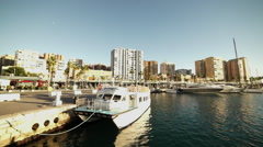 Great shot of Port Malaga at sunset Stock Footage