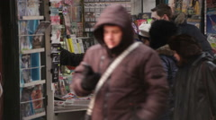 Bucharest Romania Plunging Newsstand Revenue - stock footage
