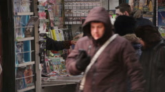 Bucharest Romania Plunging Newsstand Revenue Stock Footage